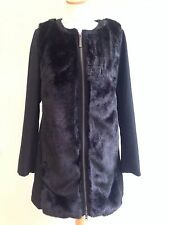 COAT SIZE 12 WOOL BLEND BY LAURA CLEMENT FAUX FUR ZIP FRONT LINED BLACK BNWT