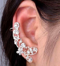 Butterfly Flower Crystal Ear Clip Crawler New One Silver Earring Cuff Climber CZ