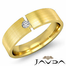 6mm Mens Half Wedding Band 14k Yellow Gold Solitaire Round Diamond Ring 0.10Ct