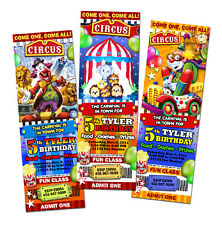 CIRCUS CARNIVAL CLOWN BIRTHDAY PARTY INVITATION TICKET invites -6 new desings w1