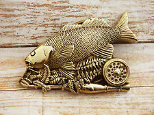Fishing Pole Trout Solid Brass Vintage 1979 Baron Belt Buckle