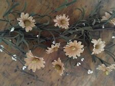 Country Teastained Daisy Flower and Berry Garland - Spring Summer Floral Decor