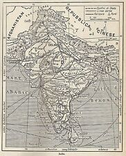 A4890 India - Carta geografica antica del 1953 - Old map