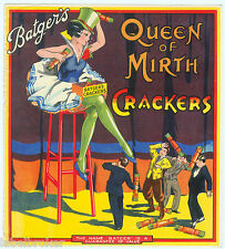 ORIGINAL LABEL VINTAGE FIRECRACKERS 1930S QUEEN OF MIRTH GIANTESS COMICAL