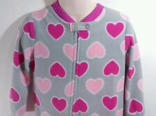 One-Piece Zip-Up Footed Pajama's 3t Toddler Girls Gray & Pink Hearts