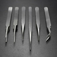 6x Stainless Steel Precision ESD Tweezers Set Maintenance Electronic Tools NEW