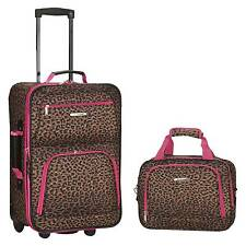 Rockland Rio 2pc Carry On Luggage Set - Pink Leopard