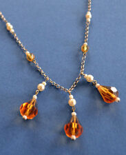 Vintage 1930s Sterling Silver and Czech Glass Bead Necklace Flapper