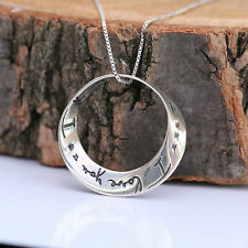 "925 Sterling Silver Necklace Infinity Love Circle ""I love you..I love you more"""