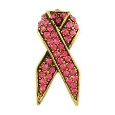 CRYSTAL PINK BREAST CANCER RIBBON BROOCH PIN MADE WITH SWAROVSKI ELEMENTS