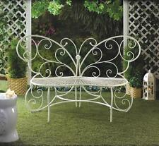 BUTTERFLY GARDEN WHITE METAL LOVE BENCH GARDEN YARD PATIO PORCH DECOR~10015688
