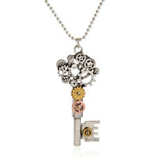 Steampunk Multi Gears Key Shaped Pendant Necklace Ladies Gothic Chain Jewelry