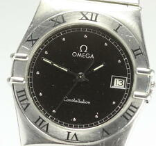 Authentic OMEGA Constellation Date Black dial Quartz Men's wrist watch_304226