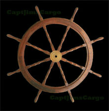 "Teak Wooden Ships Steering Wheel 47"" Helm Nautical Boat Maritime Decor New"