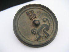 Antique Oriental Chinese Asian Bronze Metal Medallion Character Writing Monkey