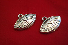 "BULK! 25pc ""I love football"" charms in antique silver style (BC138B)"