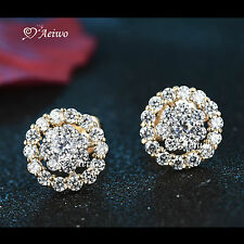 18K WHITE YELLOW GOLD GF SWAROVSKI CRYSTAL FLOWER STUD EARRINGS CUTE
