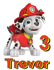 NEW PERSONALIZED PAW PATROL MARSHALL FIREMAN PUP T SHIRT BIRTHDAY ADD NAME, AGE