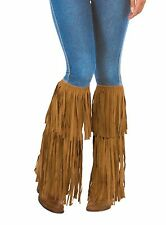 Brown Hippie Fringed Boot Tops Costume Accessory Adult Men Women Shoe Covers New