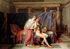 Oil painting Jacques-Louis_David The Loves of Paris and Helen free shipping