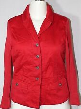 Blue Willi's Red Cotton Canvas Knit Sweater Jacket Signature Crystal Buttons L