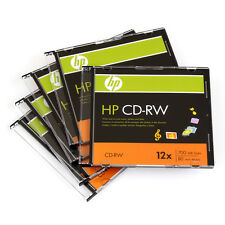 5 Pieces HP Logo 12X CD-RW CDRW ReWritable Blank Disc 700MB in Slim Jewel Case