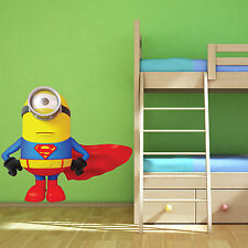 Superman Minion - Descpicable Me -Wall Art Sticker Boys Bedroom Decal Mural