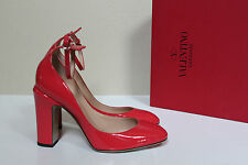 NEW sz 9 / 39 Valentino Red Patent Leather Tan-Go Tango Ankle Strap Pump Shoes
