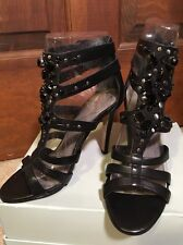 NEW-VINCE CAMUTO ANNIKA BLACK LEATHER JEWEL HEELS 5-SEXY!!! ~~FREE SHIPPING-~~~