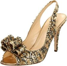 New $325 Kate Spade Italy CHARYL Sequin Slingback Sandal Pump ~Leopard/Gold *6.5