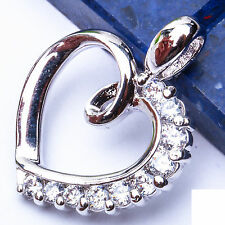 """Russian CZ Heart GIFT FOR HER .925 Sterling Silver Pendant 1"""""""