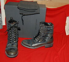 NIB JOHN VARVATOS COLLECTION Simmons Twisted Lace coal leather boots US 9 ITALY