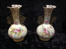Paire de antique alexandra porcelaine works floral vases tour autriche royal vienna