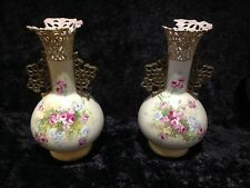 PAIR OF ANTIQUE ALEXANDRA PORCELAIN WORKS FLORAL VASES TURN AUSTRIA ROYAL VIENNA