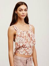 123767 Nw Free People Heart of the Rose Wrap Tank Prined Sheer Crop Blouse Top L