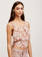 129230 Nw Free People Heart of the Rose Wrap Tank Prined Sheer Crop Blouse Top M