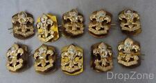 5 Pairs British Military The Kings Regiment Annodized Collar Dogs / Badges