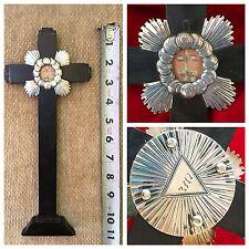 Reliquary Relic TRUE CROSS JESUS Catholic FREEMASON EYE GOD Illuminati PYRAMID