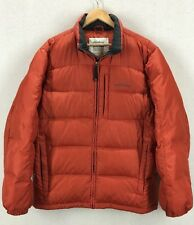 Eddie Bauer Orange Goose Down Puffer Parka Jacket W/ Carry Bag Sz M