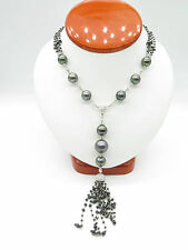 Black and White Diamonds With Black Tahitian Pearl Gold Necklace