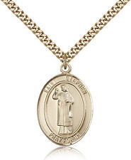 "Saint Stephen The Martyr Medal For Men - Gold Filled Necklace On 24"" Chain - ..."
