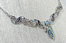 Sajen 925 Sterling Silver Marquise Amethyst & Paua Shell 18 inch necklace N6j04