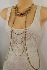 Women Gold Metal Body Chains Waves Fashion Jewelry Harness Pool Beads Necklace