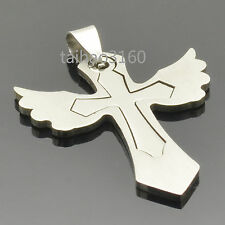 Silver Fashion Dog Tag Stainless Steel Cool Wings Cross 2-1 Pendant 1PCS PT47