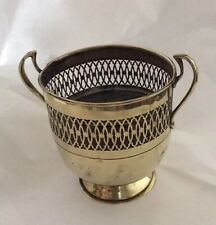 Vintage Brass Planter With Pierced Pattern Band And Trophy Shaped Handles