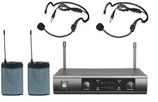 Professional UHF Wireless Cordless Dual Headset Headworn Microphone System