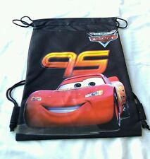 Black Disney Pixar Cars McQueen Childs Drawstring Backpack Sling Tote Gym Bag ��