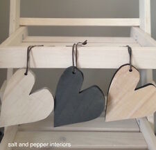 Shabby Chic Wooden Rustic Heart Hanging Wedding Decoration Natural Colours