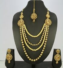 Indian Wedding Bridal Women Brown Ethnic Necklace Set Earring Tikka