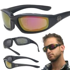 Red Chopper Padded Wind Resistant Sunglasses Motorcycle Riding Biking Glasses